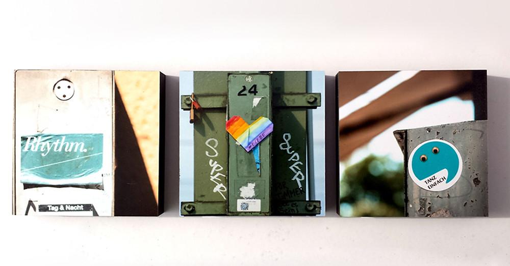 Drei verschiedene Streetart-Motive auf Fotoquadraten