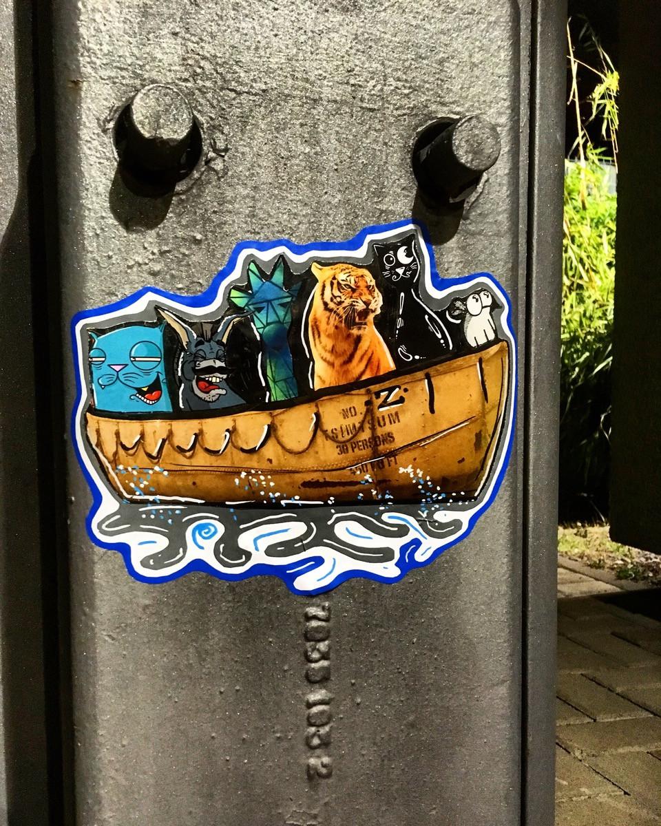 Arche Noah als Boot mit verchiedenen Stichercharakteren