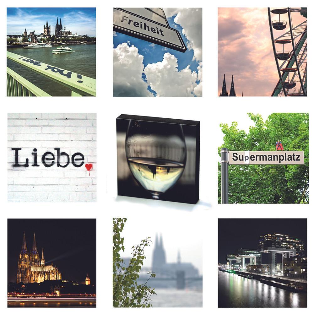 Neun Fotomotive von Köln, der Dom, Verkehrsschild, Liebe Graffiti, Glas mit Dom, Sudermannschild, Kölner Dom, Kranhäuser