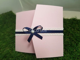 faire-part romantique rose et bleu marin