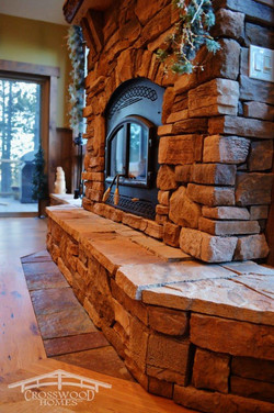 Crosswood Homes Model Fireplace Stone