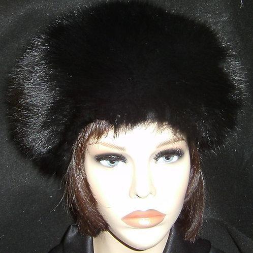 Black dyed fox round crown