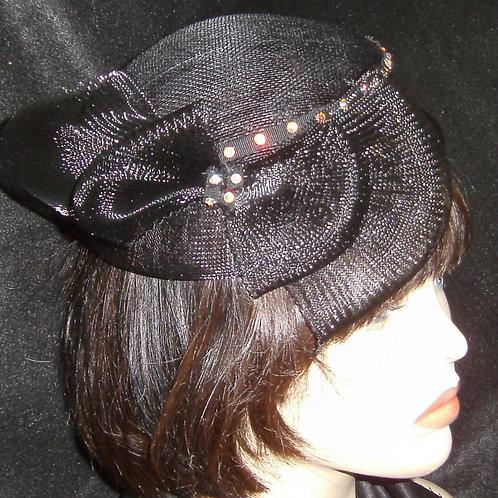 Black sinamay fascinator