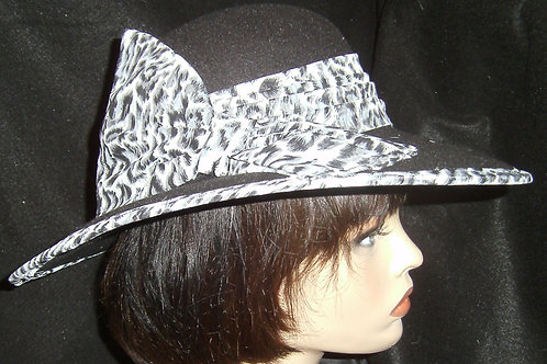 Black hat with animal print