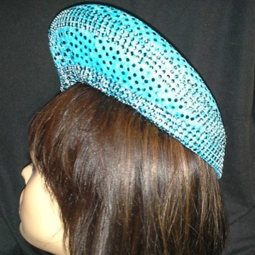 Aqua blue sequin hat