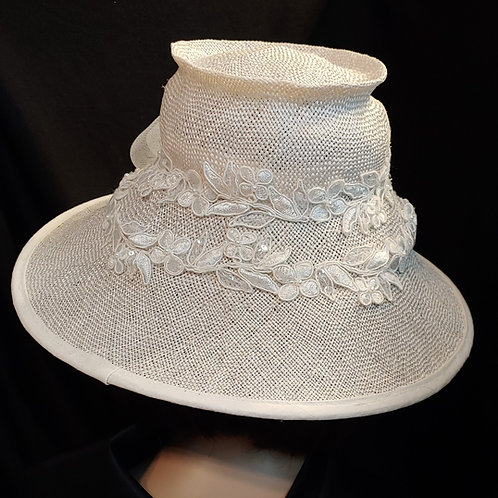 White straw with lace