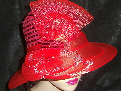 Red sequin& horsehair hat