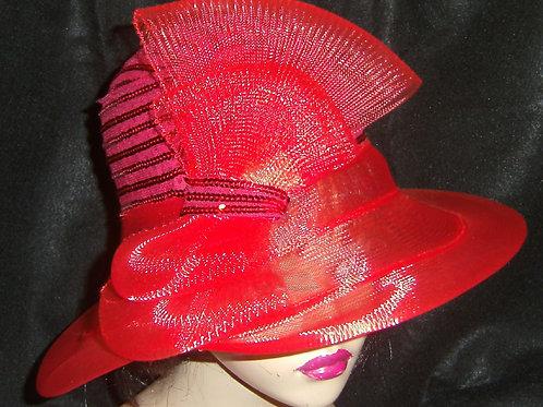 Red sequin& horsehair hat