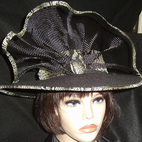 Black hat with alligator print