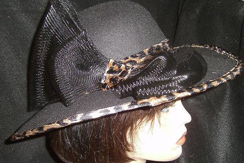 Black animal print trimmed hat