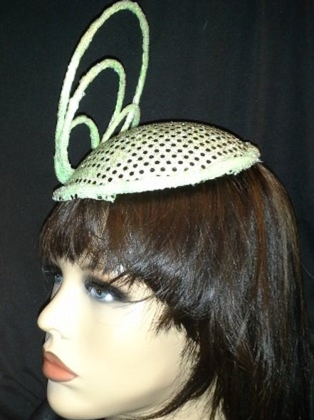 Mint green small sequin hat