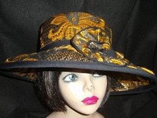 Gold & black paisley hat