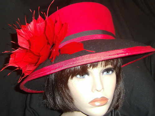 Red & black felt hat