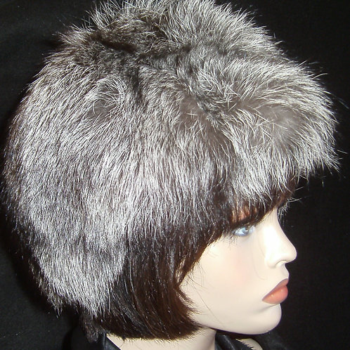 Natural silver fox fur hat