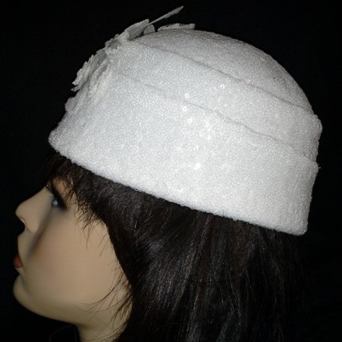 White sequin hat