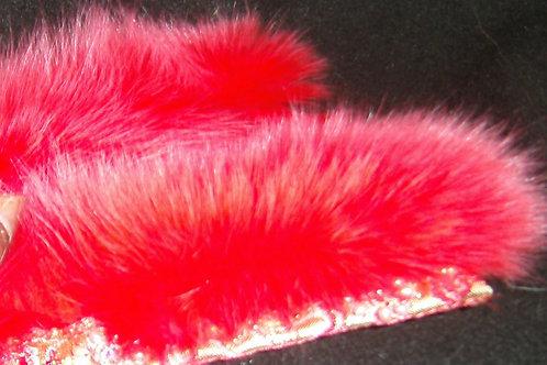 Redish orange fur slap cuffs