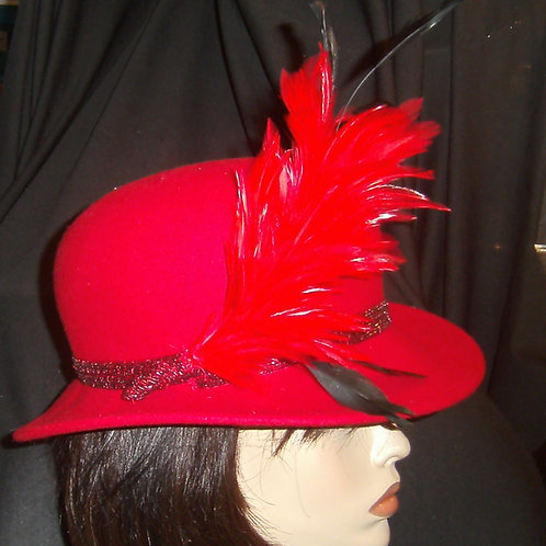 Red felt with feather