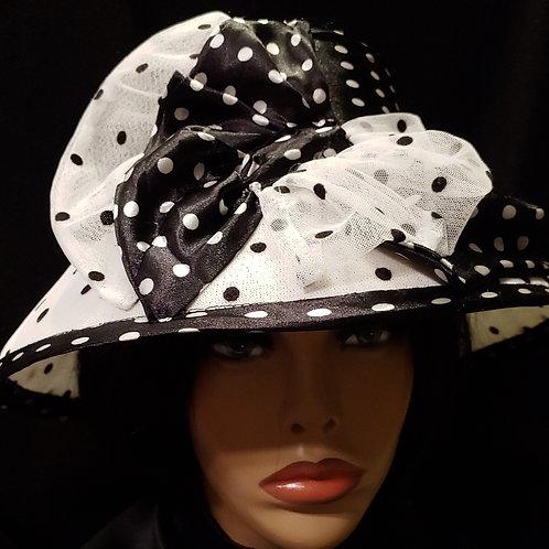 Black & White polka dot hat