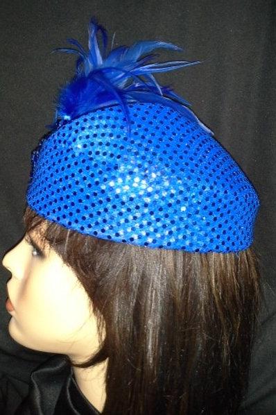 Royal blue sequin hat