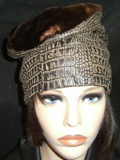 Stenciled brown leather crown