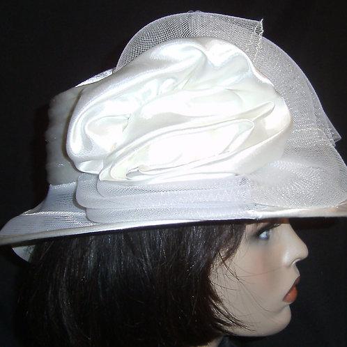White horsehair on satin crown
