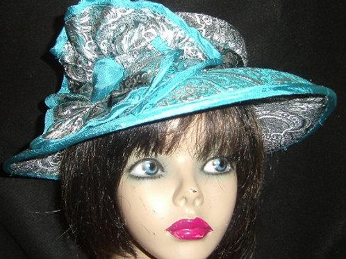 Blue & Silver Brocade Hat