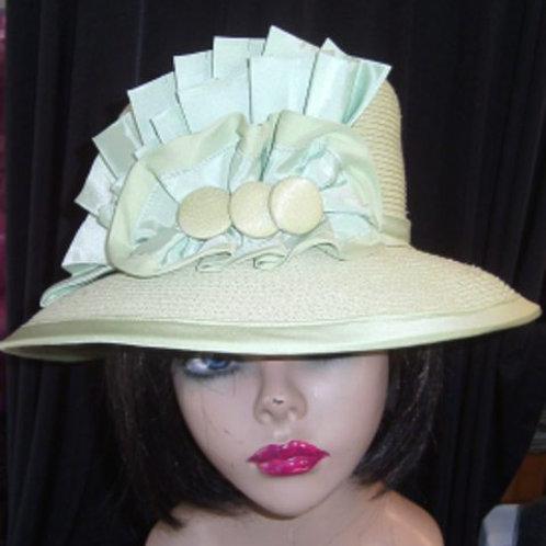 Green dressy straw hat