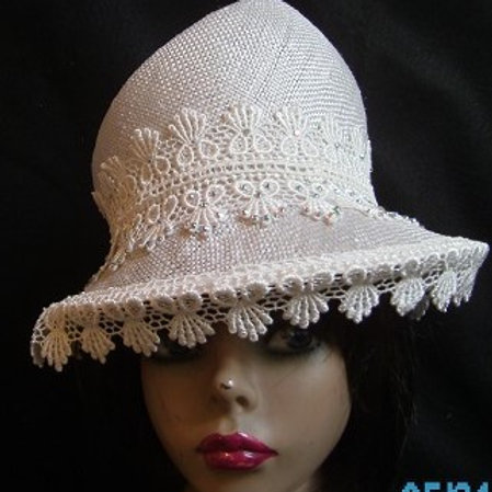 White fancy straw hat