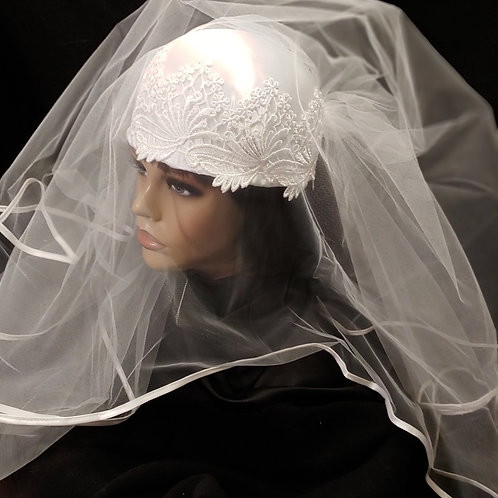 White satin and lace crown