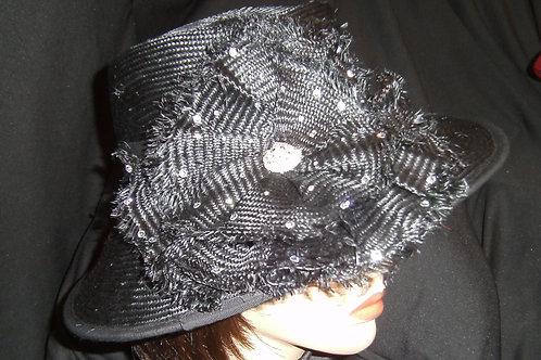 Fancy black straw hat