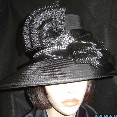 Black ribbon hat