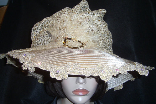 Gold ribbon hat