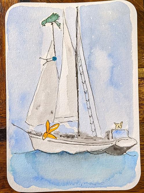 Postcard - Sailing