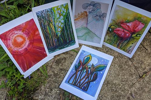Set of 5 Inspiring Postcards A6