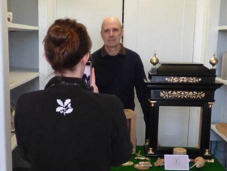 Being photographed at Nostell Priory with the Harrison replica