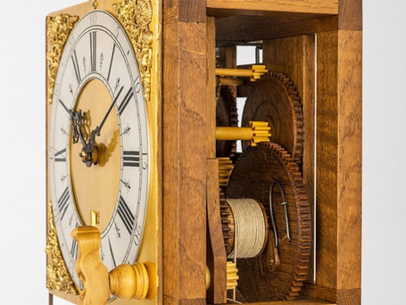 The Harrison replica movement - oak construction and boxwood pinions with a gilded wooden dial plate. Photography by Brian Pearce