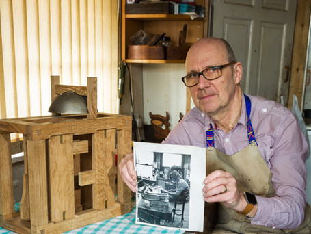 Matthew King - apprentice to craftsman, still working at the same workbench, 45 years on. Photography by Brian Pearce