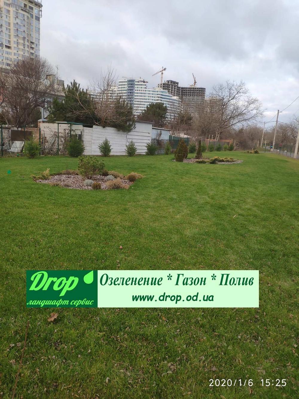 Вид Ландшафтного дизайна и озеленения в Одессе зимой
