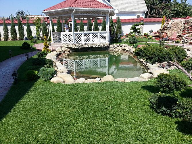 Сделать озеленение дома с искуственным водоёмом