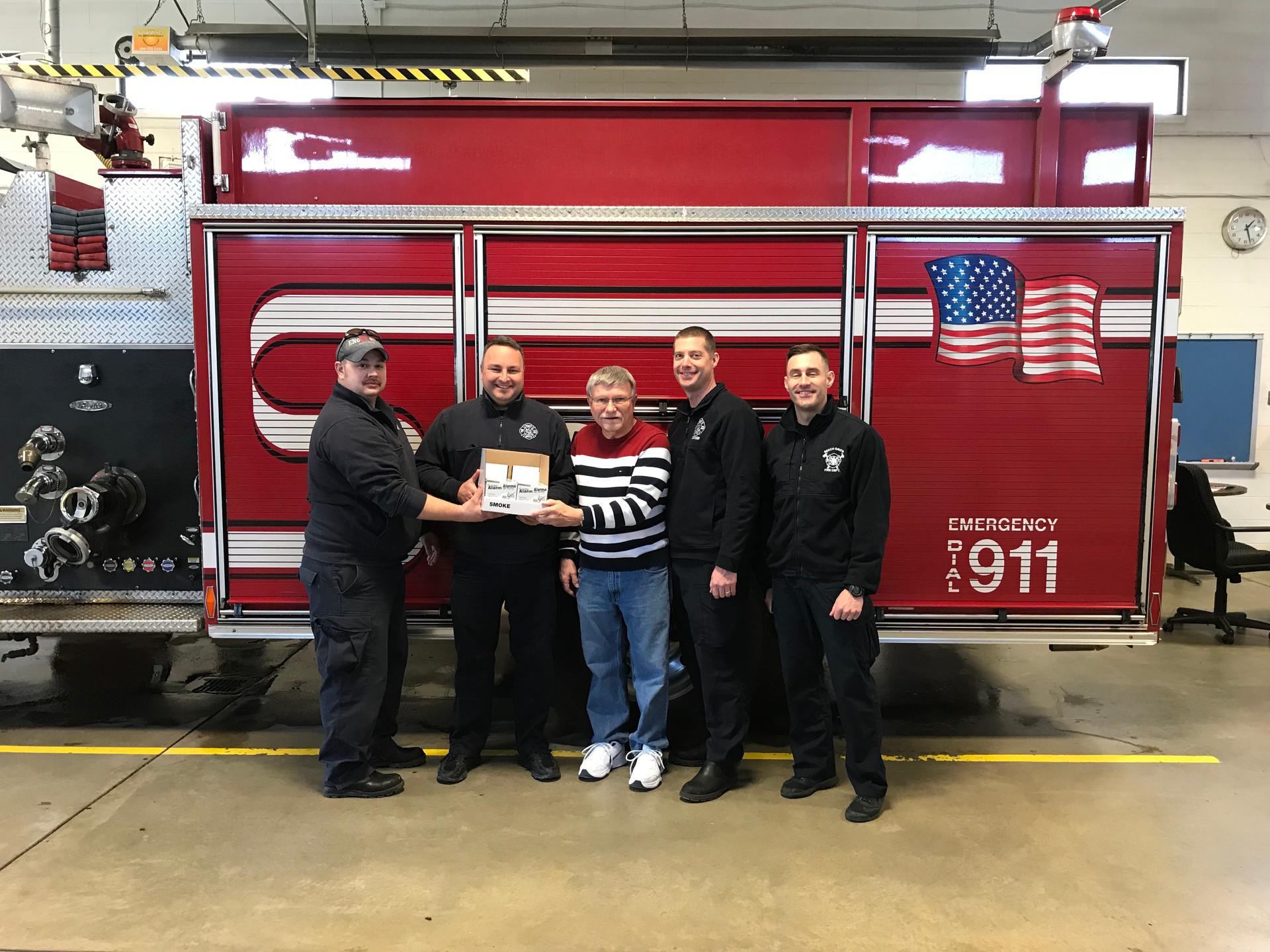 Delivering Smoke Detectors to BG Fire De