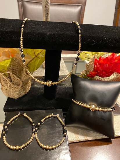 14K Gold/Black Gold filled set (bracelet (7.5 inch), necklace(19 inch), earrings