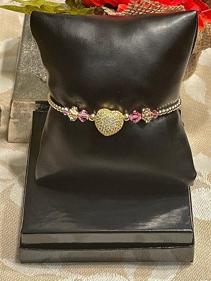 14K Gold Filled CZ Heart Bracelet