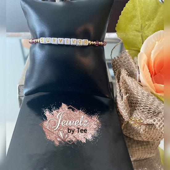 14K Breast Cancer Awareness Bracelet 'Survivor'