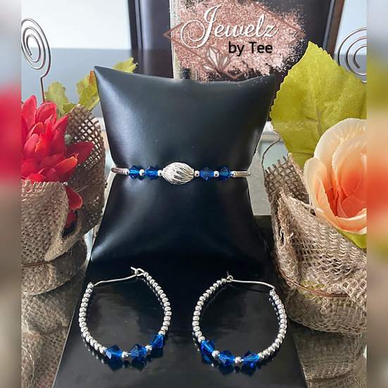 Sterling Silver Bangle and Earring Set