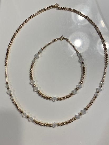 14K Gold-Filled Crystal 18 inch Necklace & 8 inch Bracelet Set