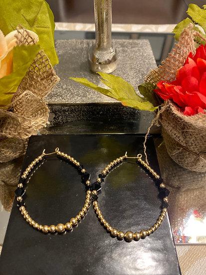 Fancy Black & Gold Earrings