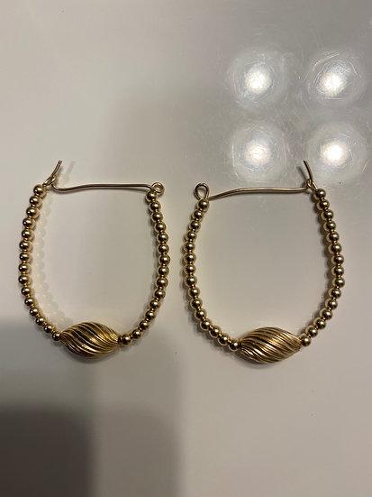 14K Gold-Filled Design Oval Earrings