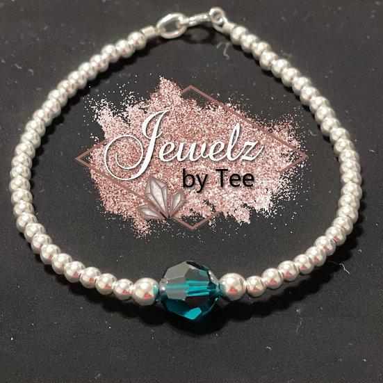 Sterling Silver Round Crystal Bracelet