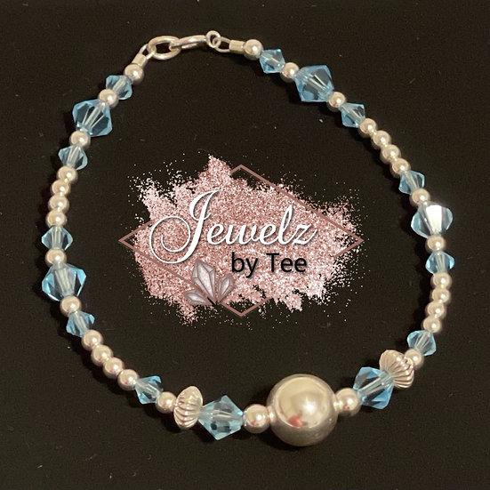 Sterling Silver Crystal Ball Bracelet