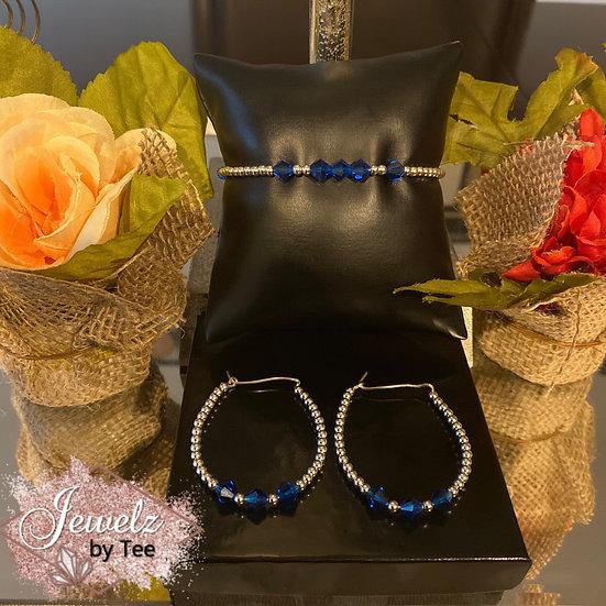Capri Blue Sterling Silver Set
